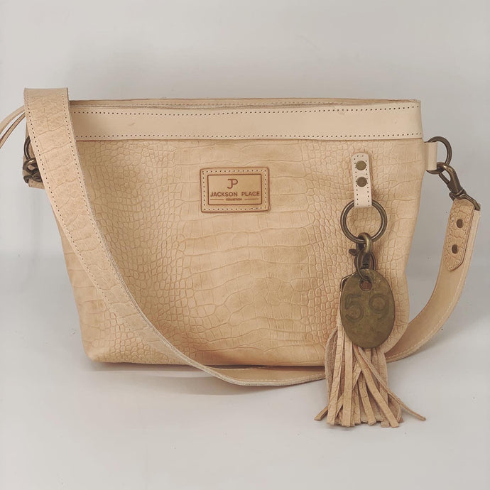 Medium Natural Embossed Croc Leather Crossbody Tote Bag