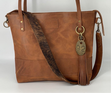 Load image into Gallery viewer, Large Carmel Leather Tote with Brindle Hair-on-Hide Bag Strap