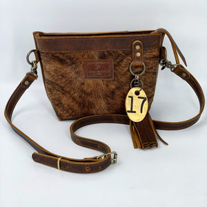 Small Brindle Hair-on-Hide Leather Crossbody Bag
