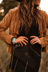 Black Hair-on-Hide Leather Clutch / Wristlet