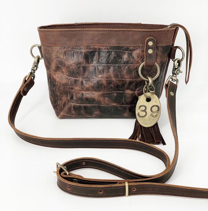 Brown Croc Embossed Small Leather Crossbody Bag