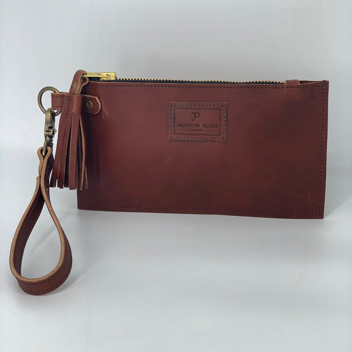 Wickett & Craig Leather Brown Clutch / Wristlet Bag