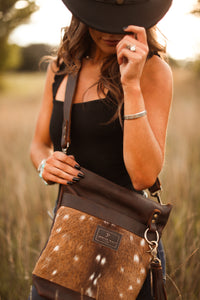 Axis Deer Hair-on-Hide & Brown Small Leather Bucket Bag