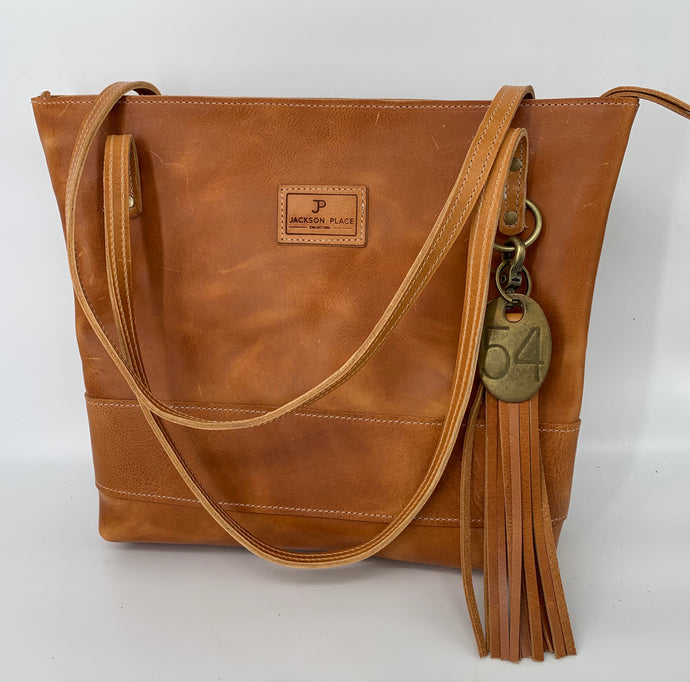 Large Portofino Classic Tan Leather Tote Bag