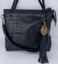 Load image into Gallery viewer, Large Black Croc Embossed Leather Tote Bag
