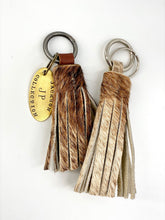 Load image into Gallery viewer, Leather Cowhide Mini Tassel Keychain & Brass Tag