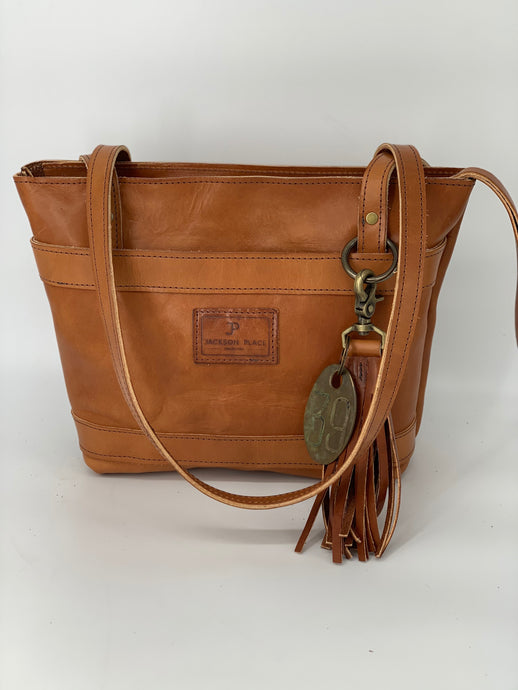 Medium Buck Brown Leather Tote Bag with Front Pocket