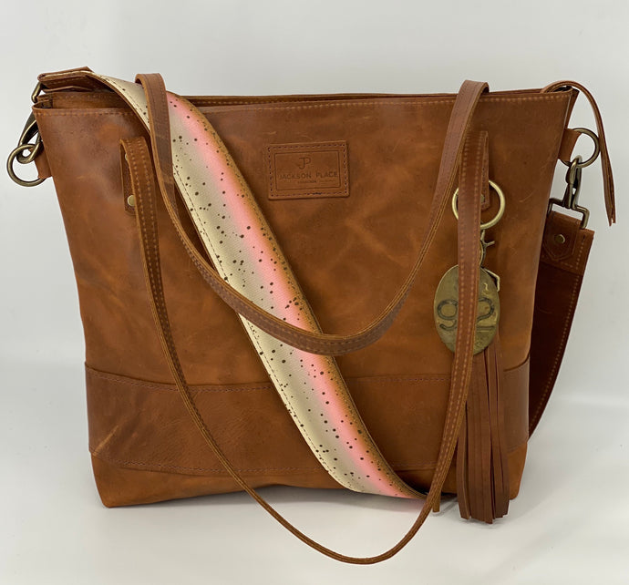 Large Carmel Leather Tote Bag with Trout
