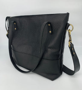 Large Black Croc Embossed Leather Tote Bag