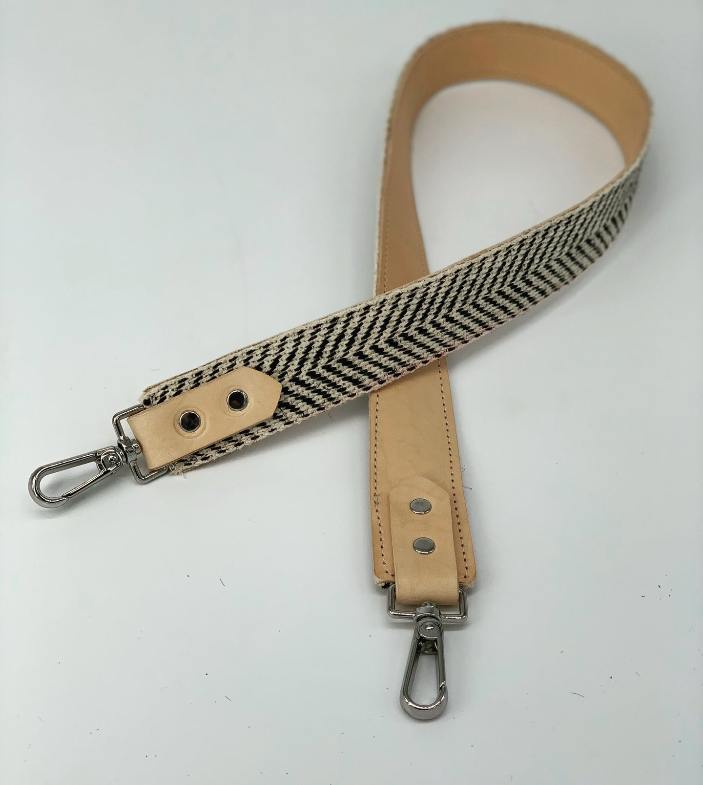 Black & White Striped + Natural Leather Bag Strap
