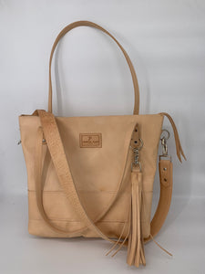 Large Natural Leather Tote Bag with Embossed Croc