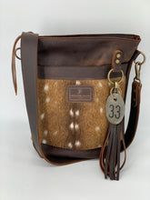 Load image into Gallery viewer, Axis Deer Hair-on-Hide & Brown Small Leather Bucket Bag