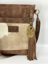 Load image into Gallery viewer, Blonde Palomino Hair-on-Hide & Gray/Brown Small Leather Bucket Bag
