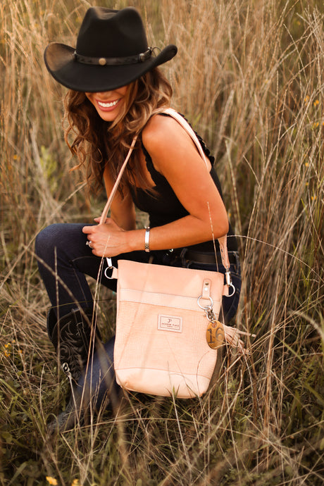 Natural Embossed Croc Small Veg Tan Leather Bucket Bag