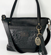 Load image into Gallery viewer, Large Black Croc Embossed Leather Tote Bag with Outside Front Pocket