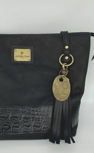 Large Black Leather Tote Bag with Black Embossed Croc Band