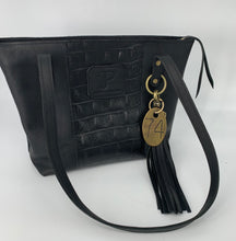Load image into Gallery viewer, Medium Black Croc Embossed & Kodiak Leather Tote Bag