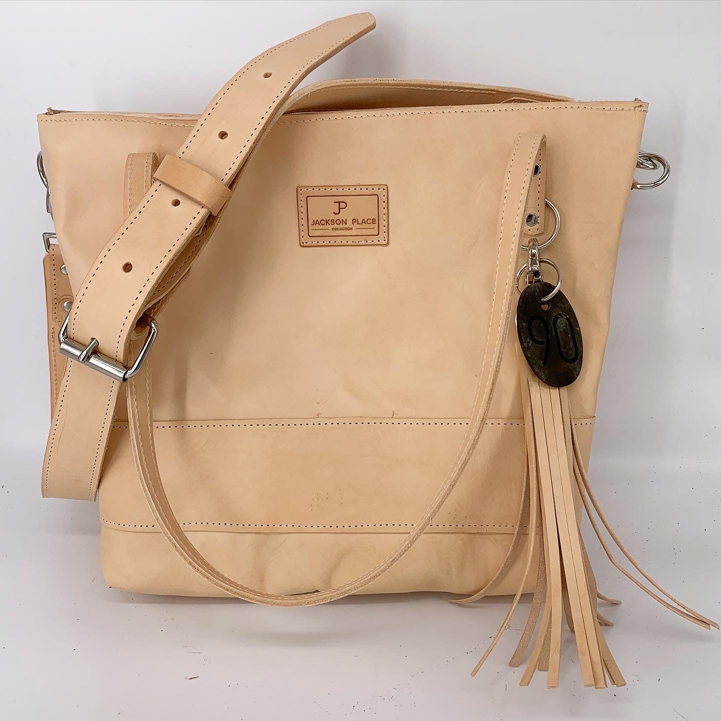 Large Natural Leather Tote Bag with Buckle