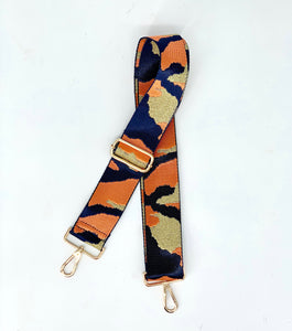 Metallic Orange & Navy Camo Adjustable Woven Bag Strap - Camouflage Green/Black