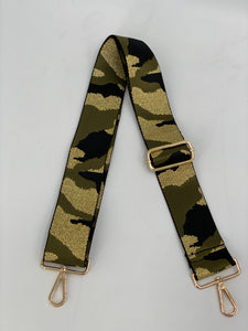 Metallic Camo Adjustable Woven Bag Strap - Camouflage Green/Black