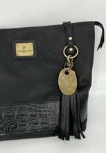 Load image into Gallery viewer, Large Black Leather Tote Bag with Black Embossed Croc Band