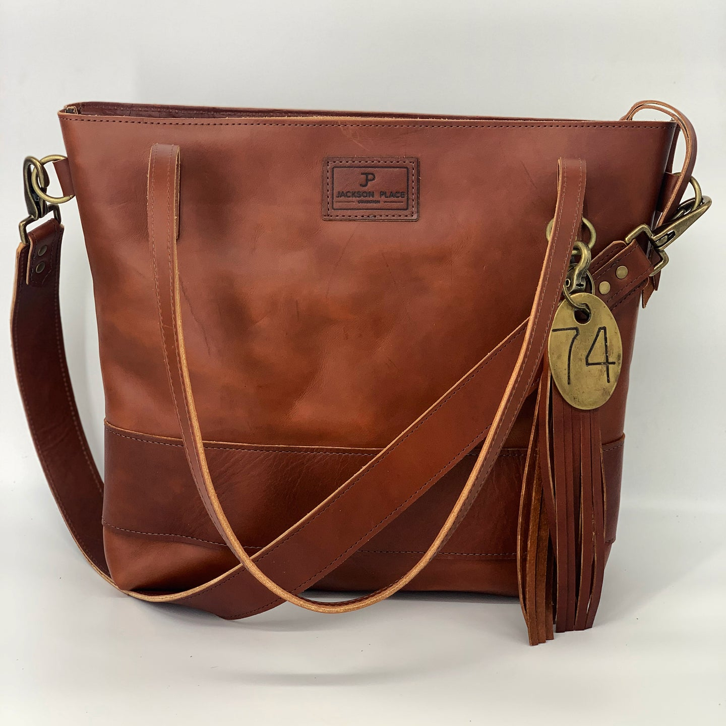 Large Cognac Leather Tote Bag with Strap