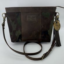 Load image into Gallery viewer, Medium Camo Waxed Canvas & Brown Leather Crossbody Bag