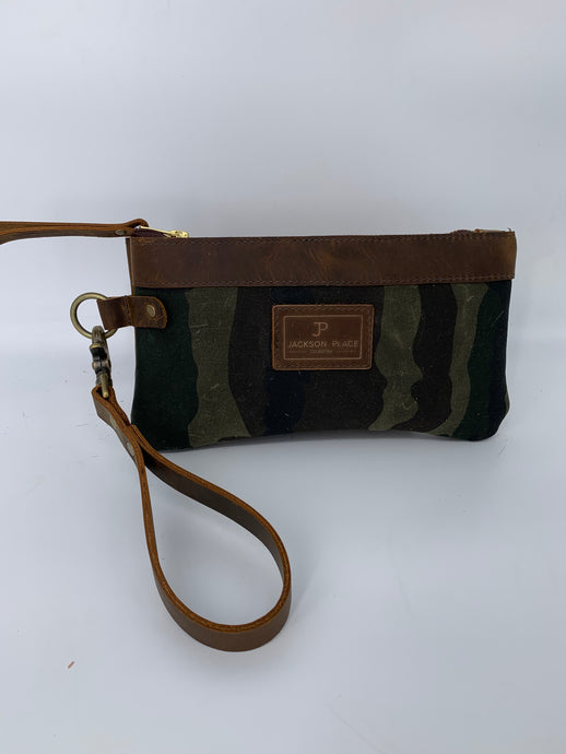 Dark Brown Camo Waxed Canvas & Leather Clutch / Wristlet Bag