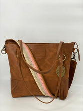 Load image into Gallery viewer, Large Carmel Leather Tote Bag with Trout