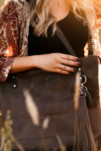 Large Brown/Gray Leather Tote Bag