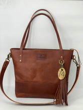 Load image into Gallery viewer, Large Cognac Leather Tote Bag with Strap