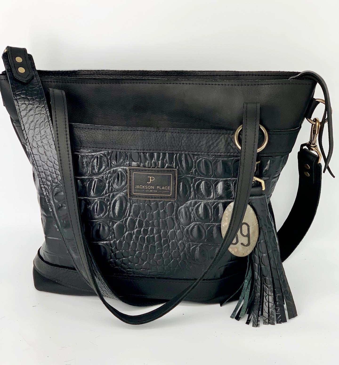 Large Black Croc Embossed Leather Tote Bag with Outside Front Pocket