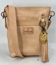Load image into Gallery viewer, Natural Embossed Croc Small Veg Tan Leather Bucket Bag