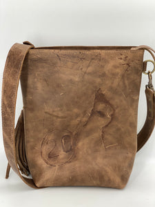 Blonde Palomino Hair-on-Hide & Gray/Brown Small Leather Bucket Bag