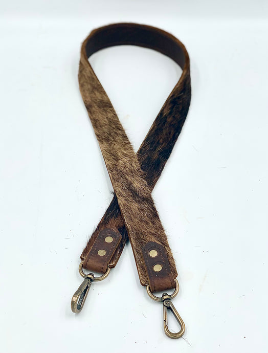 Brindle Hair-on-Hide Cowhide Leather Bag Strap
