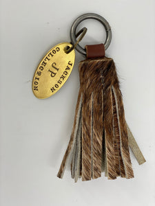 Leather Cowhide Mini Tassel Keychain & Brass Tag