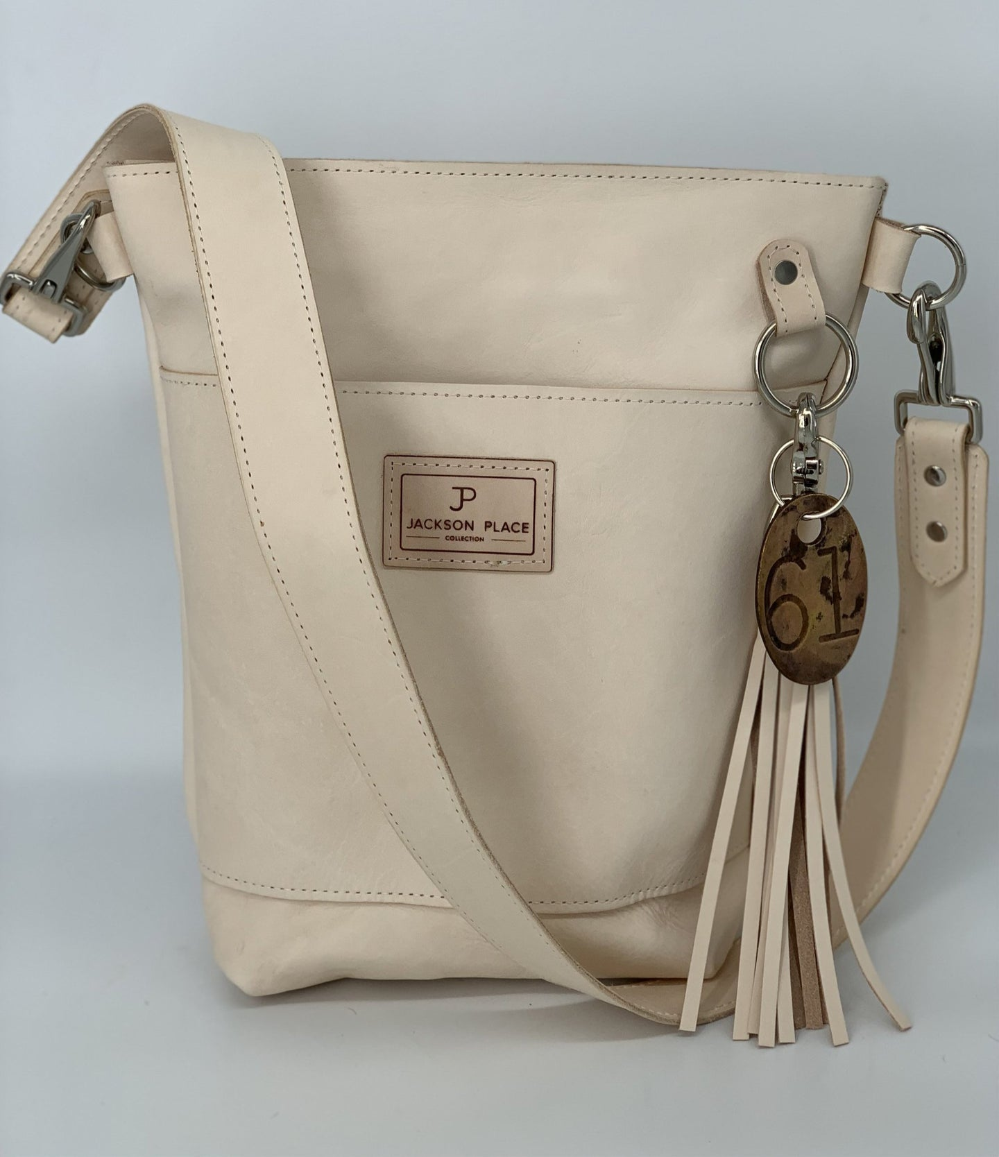 Small Natural Veg-Tan Leather Bucket Bag