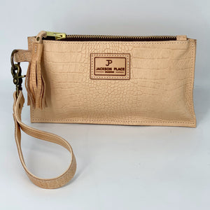 Natural Embossed Croc Leather Clutch / Wristlet