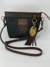 Load image into Gallery viewer, Small Camo Waxed Canvas & Brown Leather Crossbody Bag