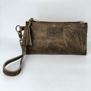 Gray-Brown Leather Clutch / Wristlet Bag