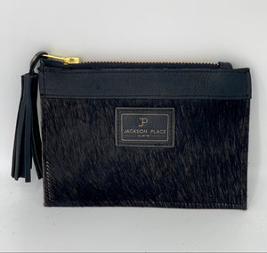 Mini Black Hair-on-Hide Leather Pouch Bag