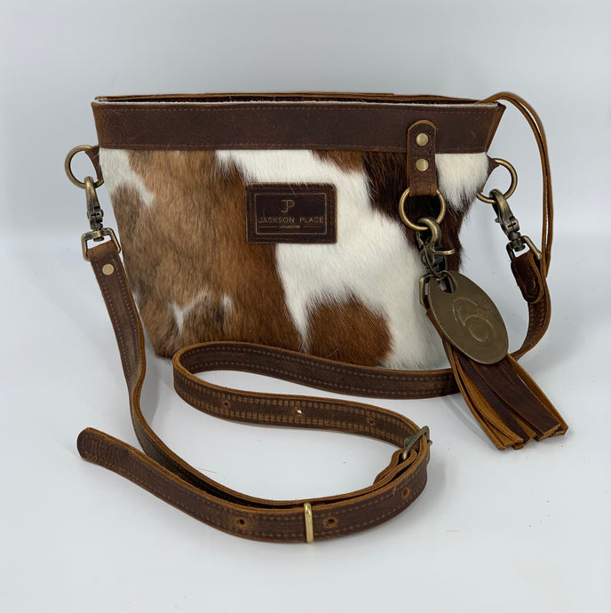 Small Brown & White Hair-on-Hide Cowhide Leather Crossbody