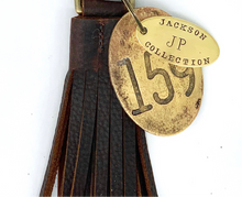 Load image into Gallery viewer, Leather Bag Tassel & Brass Tag