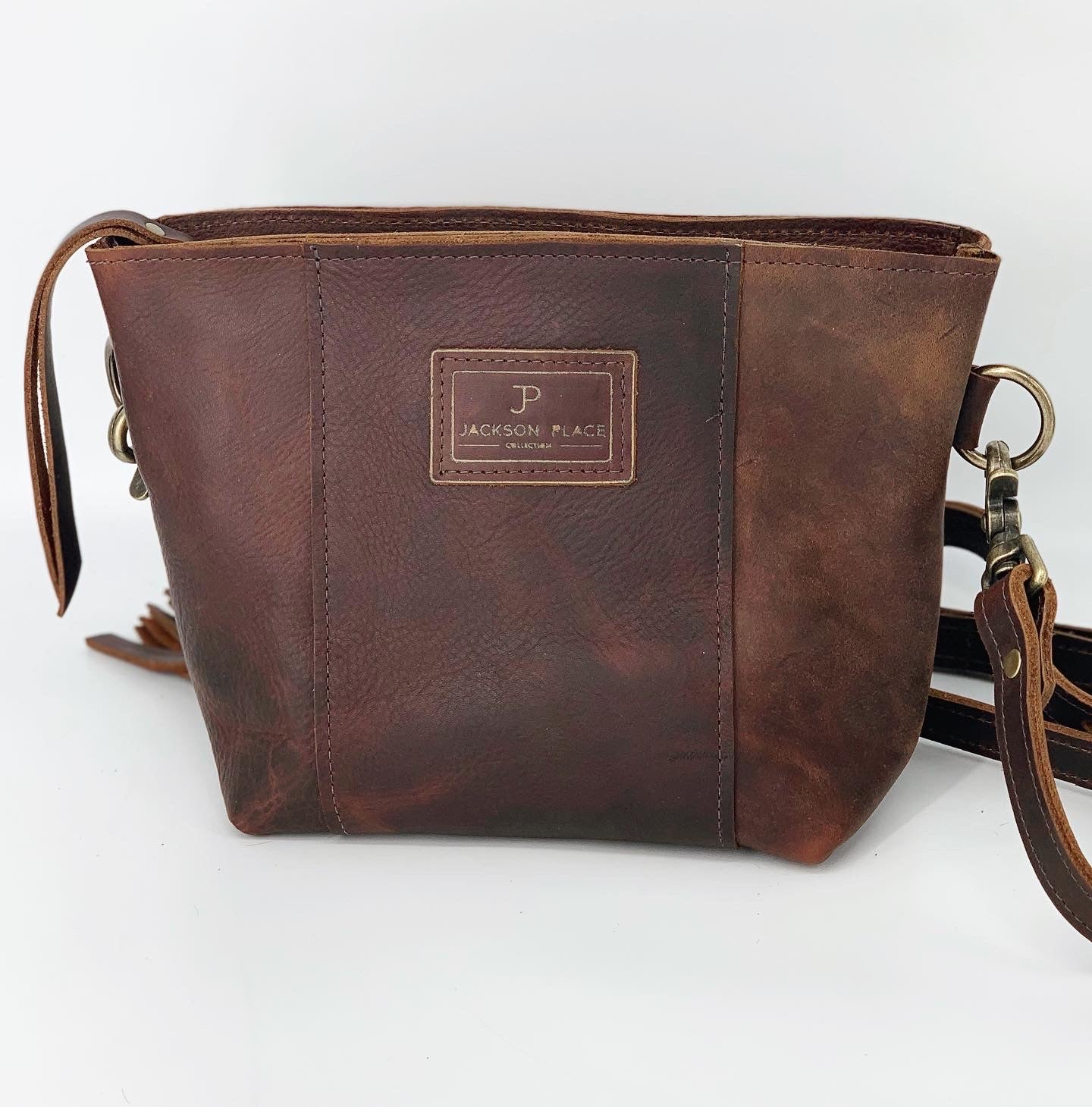 Brown Kodiak Leather Small Crossbody Bag
