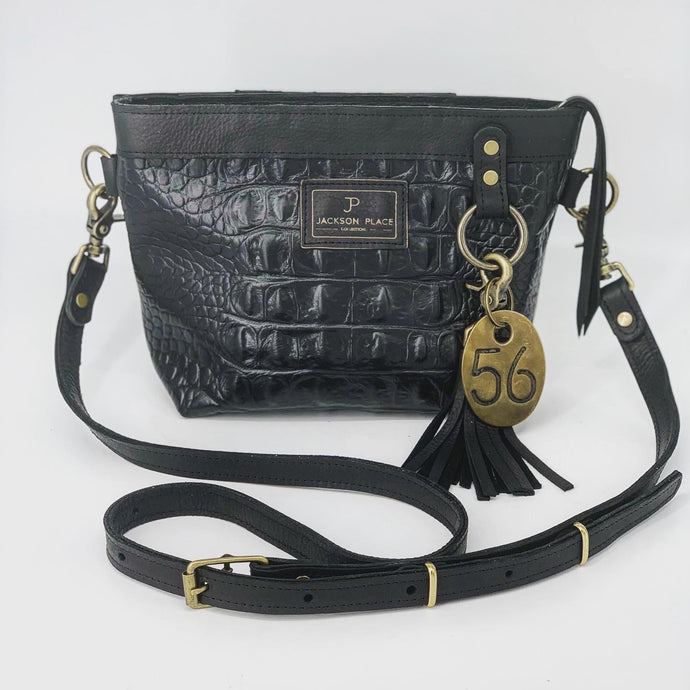 Black Croc Embossed Small Leather Crossbody Bag