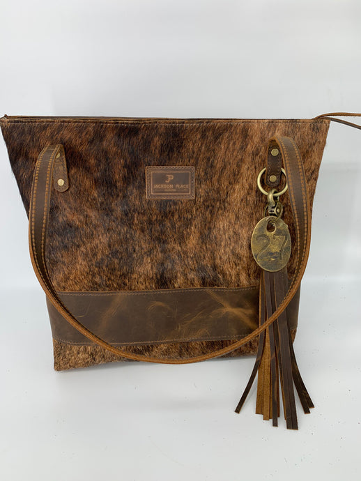 Large Brindle Cowhide Hair-On-Hide & Brown Leather Tote Bag