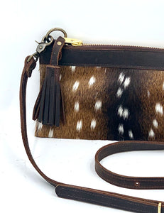 Banded Axis Deer Hair-on-Hide Leather Crossbody / Clutch Bag