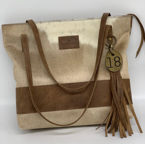 Large Blonde Palomino Hair-On-Hide & Leather Tote Bag