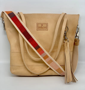 Large Natural Leather Tote Bag with Red Stripe