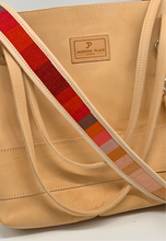 Load image into Gallery viewer, Large Natural Leather Tote Bag with Red Stripe
